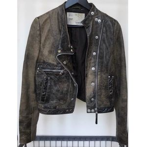 Zara TRF Brown Leather Biker Jacket